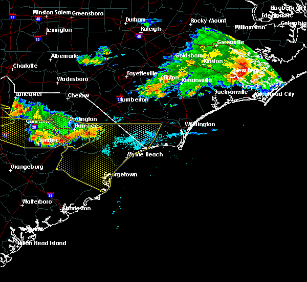 Radar Image for Severe Thunderstorms near Mullins, SC at 7/7/2016 9:42 PM EDT