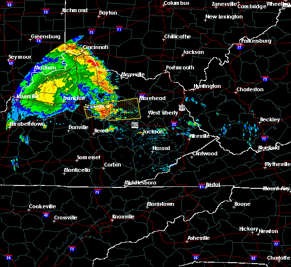 Radar Image for Severe Thunderstorms near Winchester, KY at 7/8/2016 12:38 PM EDT