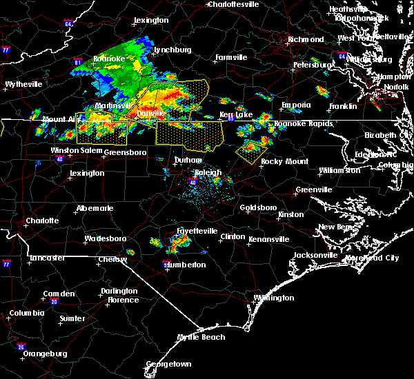 Radar Image for Severe Thunderstorms near Kittrell, NC at 7/8/2016 6:35 PM EDT