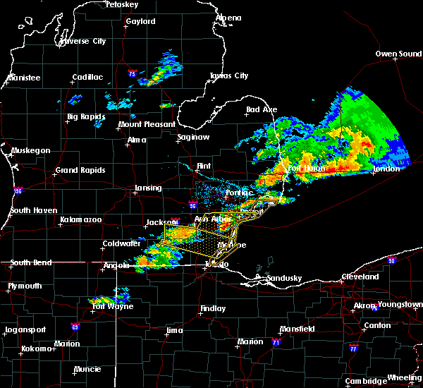 Radar Image for Severe Thunderstorms near Dundee, MI at 7/8/2016 7:27 PM EDT