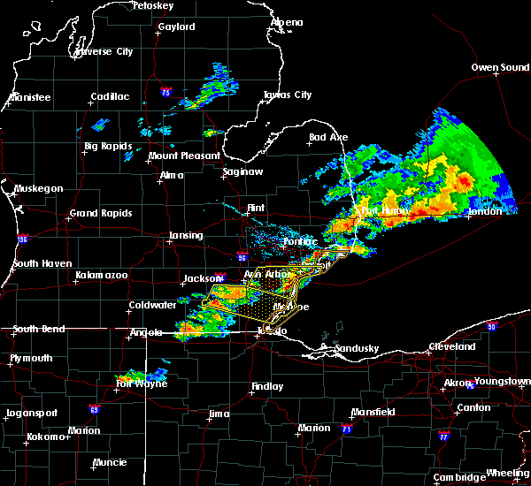 Radar Image for Severe Thunderstorms near Dundee, MI at 7/8/2016 7:45 PM EDT