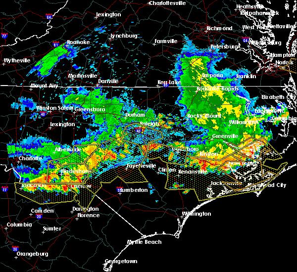 Radar Image for Severe Thunderstorms near Benson, NC at 7/8/2016 10:04 PM EDT