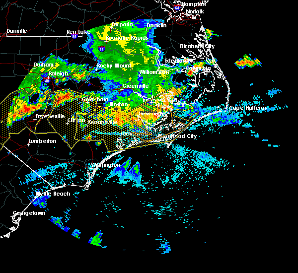 Radar Image for Severe Thunderstorms near Jacksonville, NC at 7/8/2016 10:17 PM EDT