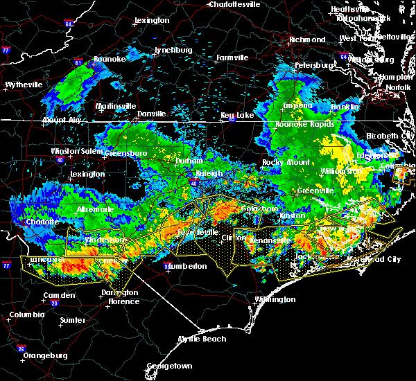 Radar Image for Severe Thunderstorms near Benson, NC at 7/8/2016 10:30 PM EDT