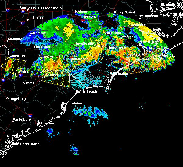 Radar Image for Severe Thunderstorms near Pembroke, NC at 7/8/2016 11:22 PM EDT