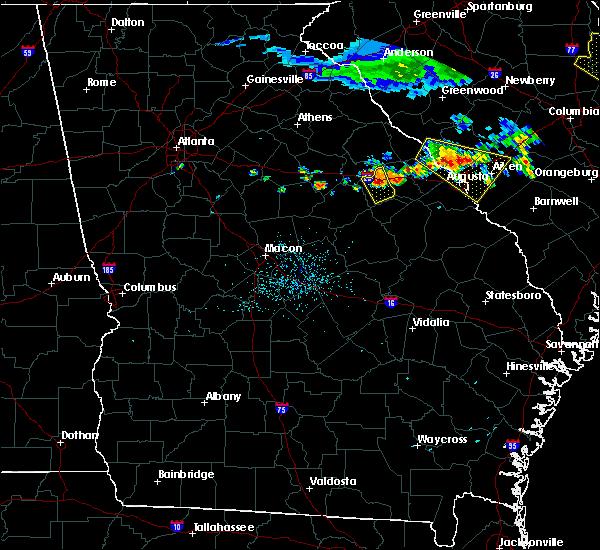 Radar Image for Severe Thunderstorms near Warrenton, GA at 7/8/2016 11:30 PM EDT