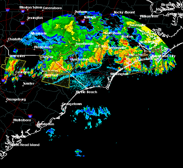 Radar Image for Severe Thunderstorms near Pembroke, NC at 7/8/2016 11:32 PM EDT