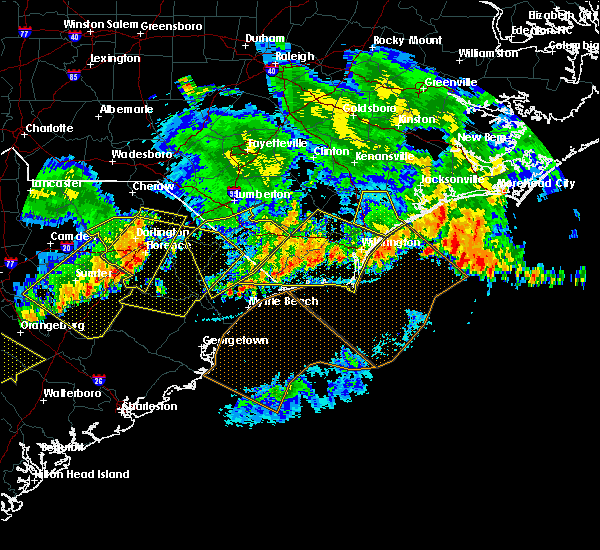 Radar Image for Severe Thunderstorms near Myrtle Beach, SC at 7/9/2016 12:34 AM EDT
