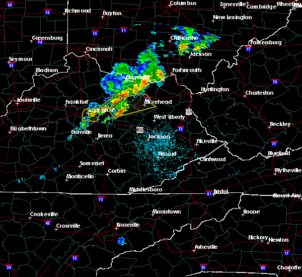 Radar Image for Severe Thunderstorms near Morehead, KY at 7/14/2016 12:36 AM EDT