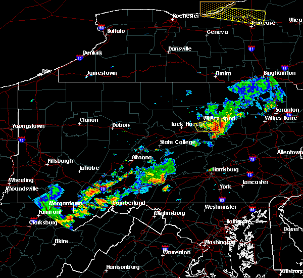 Radar Image for Severe Thunderstorms near Iola, PA at 7/18/2016 12:34 PM EDT