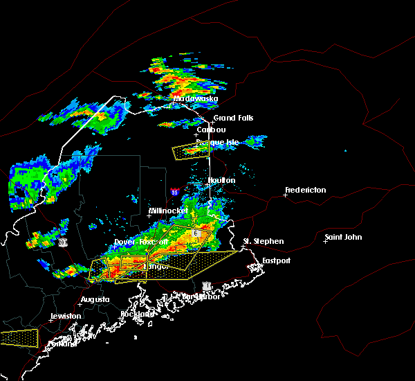 Radar Image for Severe Thunderstorms near Woodland, ME at 7/18/2016 3:46 PM EDT
