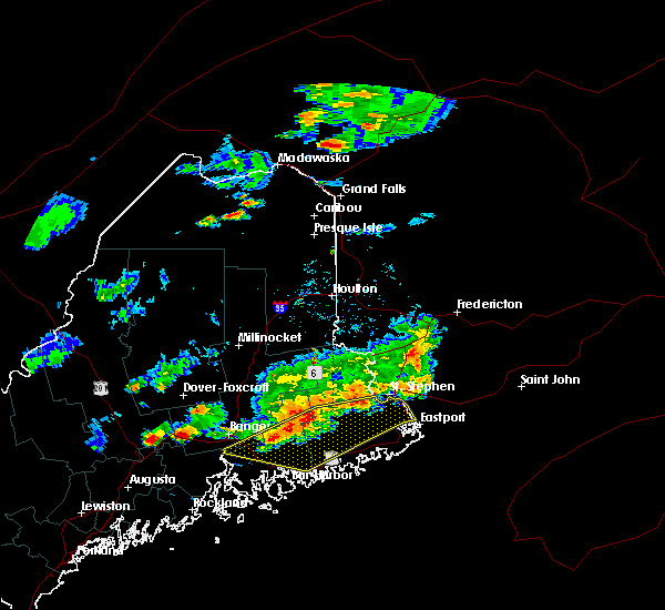 Radar Image for Severe Thunderstorms near Woodland, ME at 7/18/2016 4:33 PM EDT