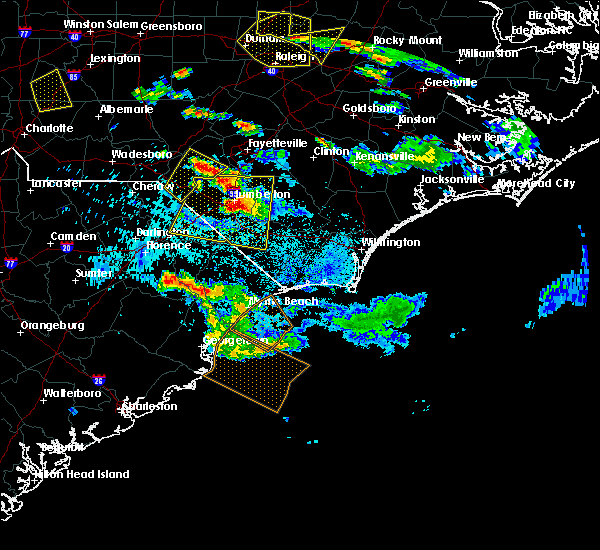 Radar Image for Severe Thunderstorms near Fair Bluff, NC at 7/19/2016 9:53 PM EDT