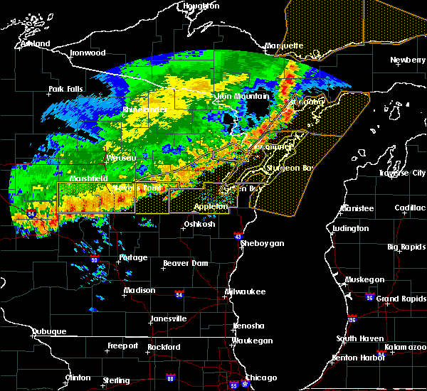 Radar Image for Severe Thunderstorms near Sturgeon Bay, WI at 7/21/2016 8:00 AM CDT