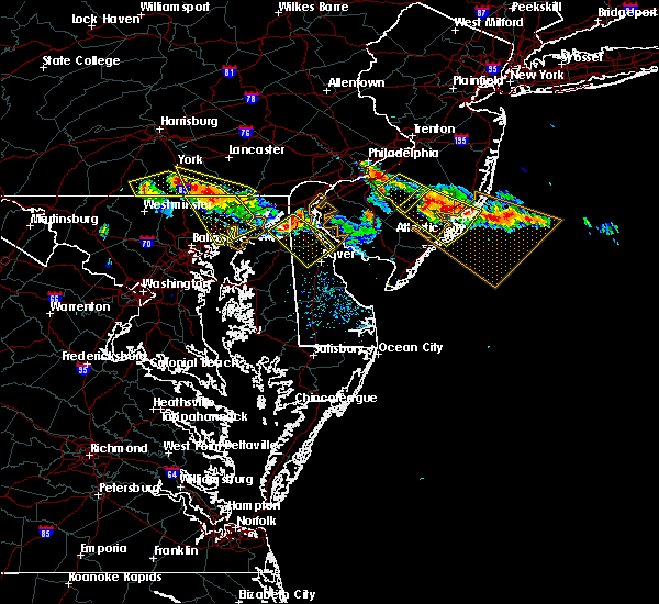 Radar Image for Severe Thunderstorms near Dover, DE at 7/23/2016 6:14 PM EDT