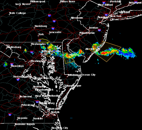 Radar Image for Severe Thunderstorms near Milford, DE at 7/23/2016 7:08 PM EDT