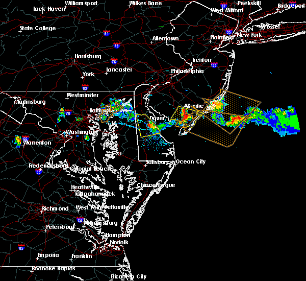 Radar Image for Severe Thunderstorms near Milford, DE at 7/23/2016 7:27 PM EDT