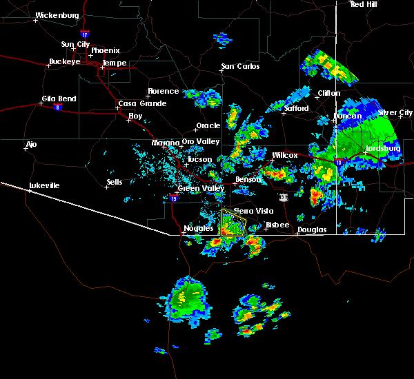 Radar Image for Severe Thunderstorms near Sierra Vista Southeast, AZ at 7/27/2016 4:59 PM MST