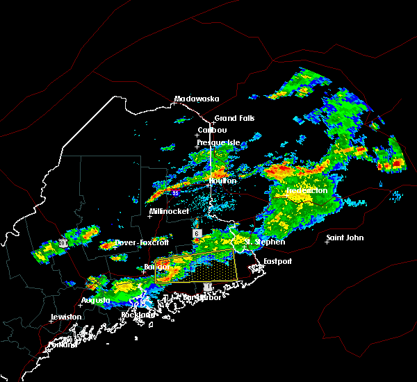 Radar Image for Severe Thunderstorms near Woodland, ME at 7/28/2016 5:15 PM EDT