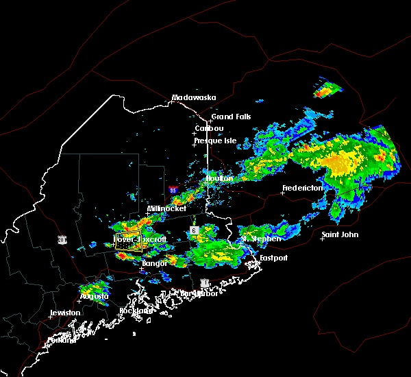Radar Image for Severe Thunderstorms near Milo, ME at 7/28/2016 6:27 PM EDT