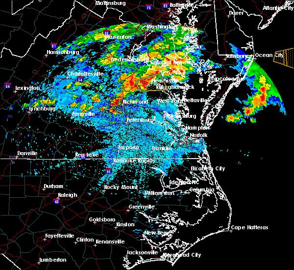 Radar Image for Severe Thunderstorms near Tappahannock, VA at 7/28/2016 9:53 PM EDT