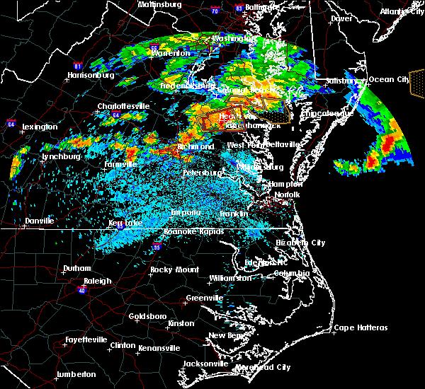 Radar Image for Severe Thunderstorms near Warsaw, VA at 7/28/2016 10:11 PM EDT