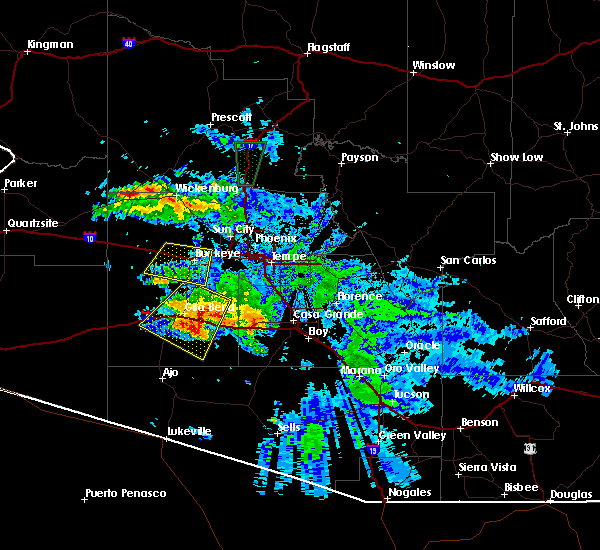 Radar Image for Severe Thunderstorms near Goodyear, AZ at 7/29/2016 9:44 PM MST
