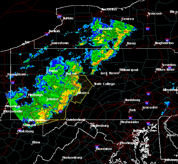 Radar Image for Severe Thunderstorms near Dunlo, PA at 8/16/2016 7:39 PM EDT