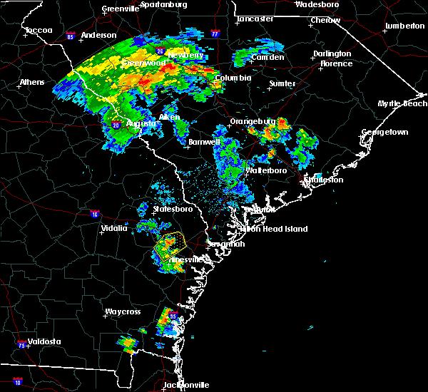 Radar Image for Severe Thunderstorms near Fort Stewart, GA at 8/19/2016 7:56 PM EDT