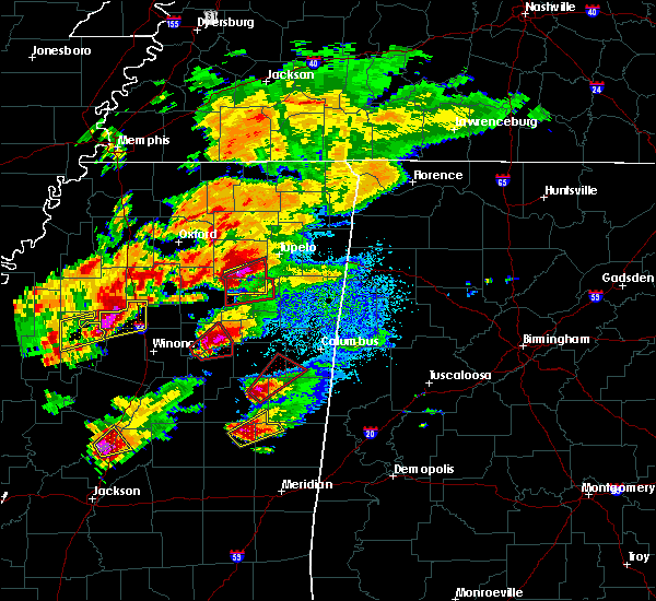 Radar Image for Severe Thunderstorms near Algoma, MS at 11/29/2016 5:33 PM CST