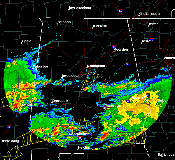 Radar Image for Severe Thunderstorms near Montevallo, AL at 1/21/2017 10:25 PM CST