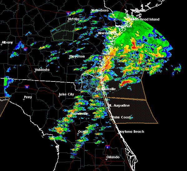 Radar Image for Severe Thunderstorms near Jacksonville, FL at 1/22/2017 2:37 PM EST