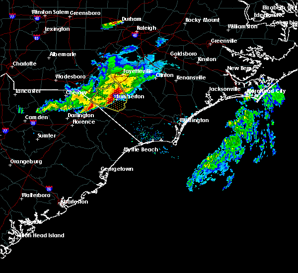 Radar Image for Severe Thunderstorms near Orrum, NC at 3/18/2017 6:51 PM EDT