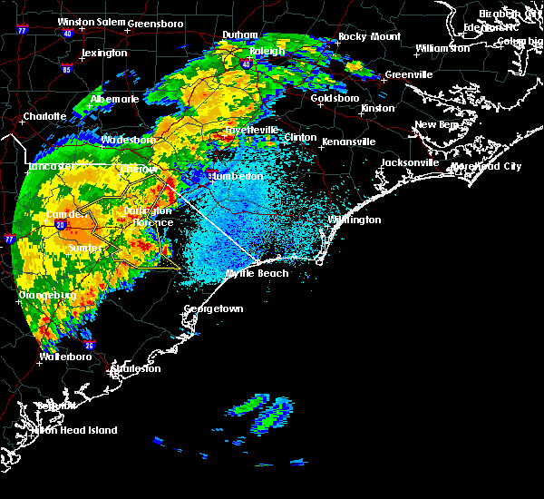Radar Image for Severe Thunderstorms near Orrum, NC at 3/22/2017 12:02 AM EDT