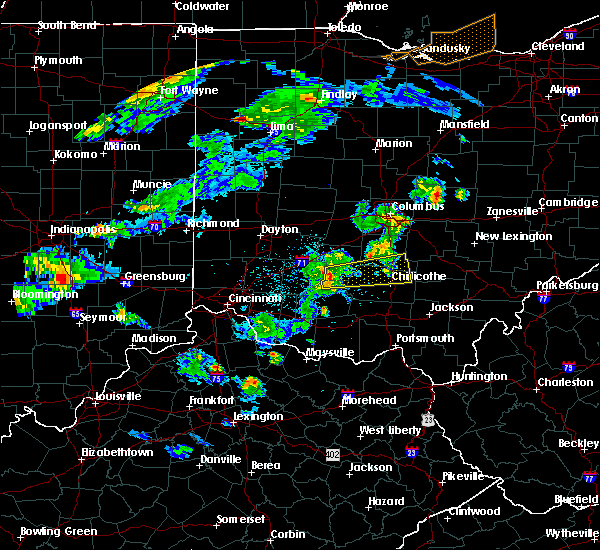 Radar Image for Severe Thunderstorms near Leesburg, OH at 4/20/2017 6:20 PM EDT
