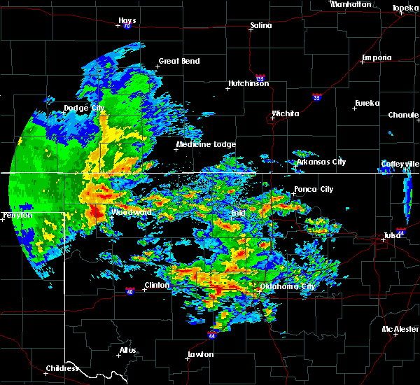 Radar Image for Severe Thunderstorms near Woodward, OK at 4/21/2017 6:08 AM CDT