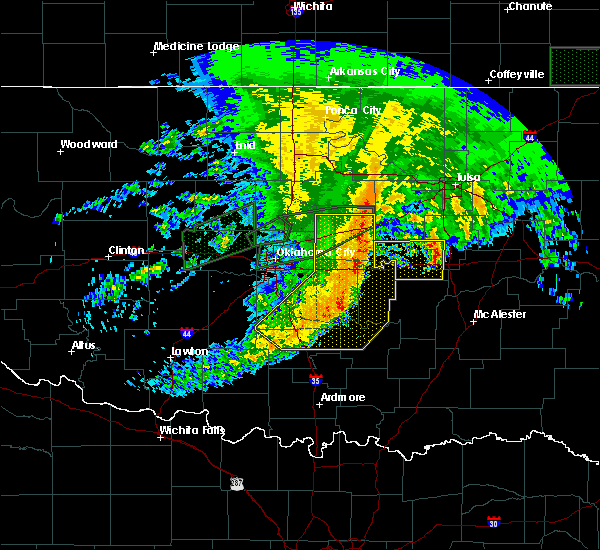 Radar Image for Severe Thunderstorms near Prague, OK at 4/21/2017 10:19 AM CDT