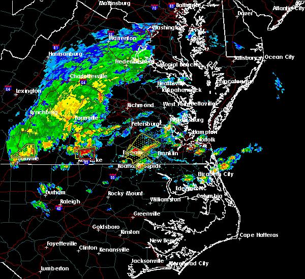 Radar Image for Severe Thunderstorms near Boykins, VA at 4/22/2017 4:01 PM EDT