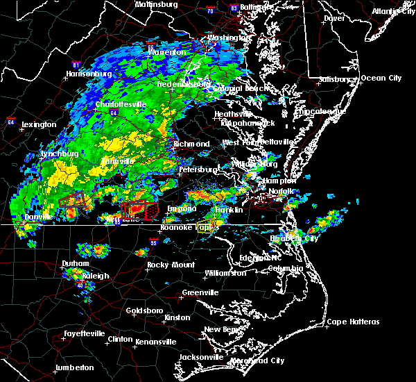 Radar Image for Severe Thunderstorms near Suffolk, VA at 4/22/2017 4:29 PM EDT