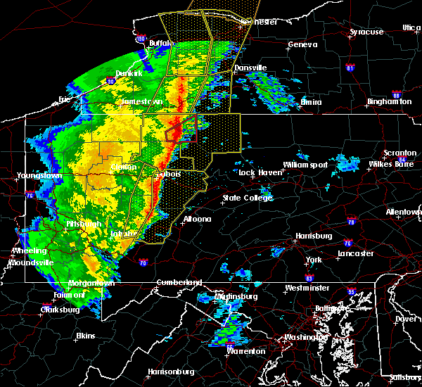 Radar Image for Severe Thunderstorms near Grassflat, PA at 5/1/2017 4:31 PM EDT