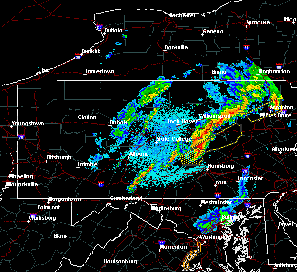 Radar Image for Severe Thunderstorms near Almedia, PA at 5/1/2017 10:00 PM EDT