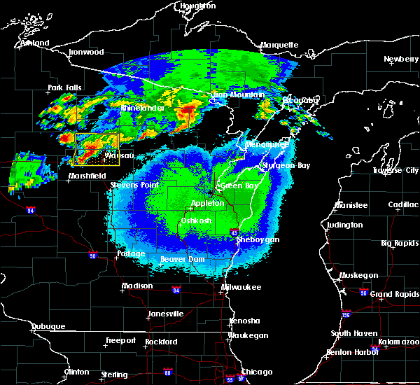 Radar Image for Severe Thunderstorms near Merrill, WI at 5/16/2017 9:34 PM CDT