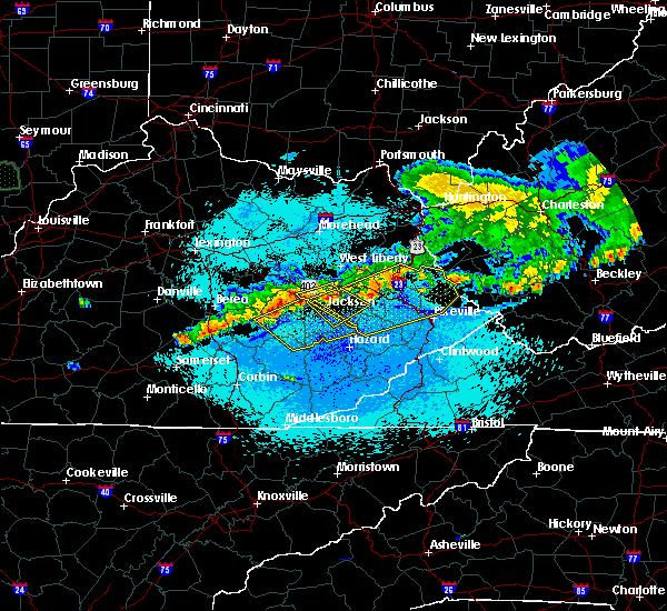 Radar Image for Severe Thunderstorms near Booneville, KY at 5/19/2017 10:37 PM EDT