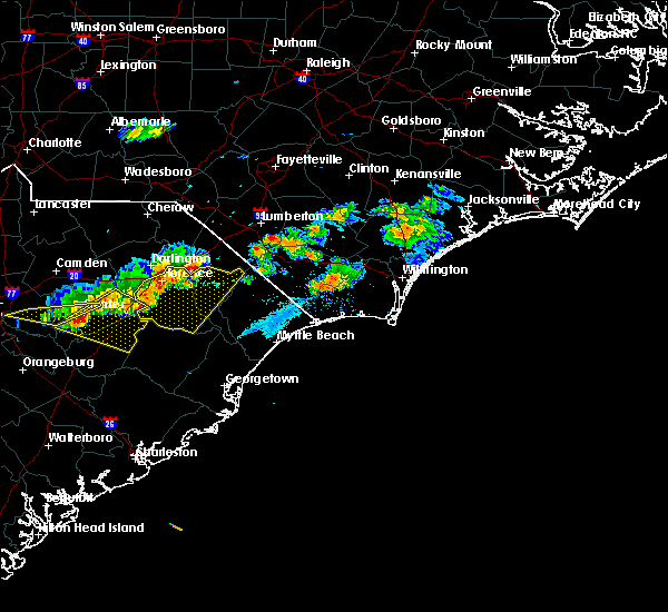 Radar Image for Severe Thunderstorms near Mullins, SC at 5/28/2017 8:06 PM EDT