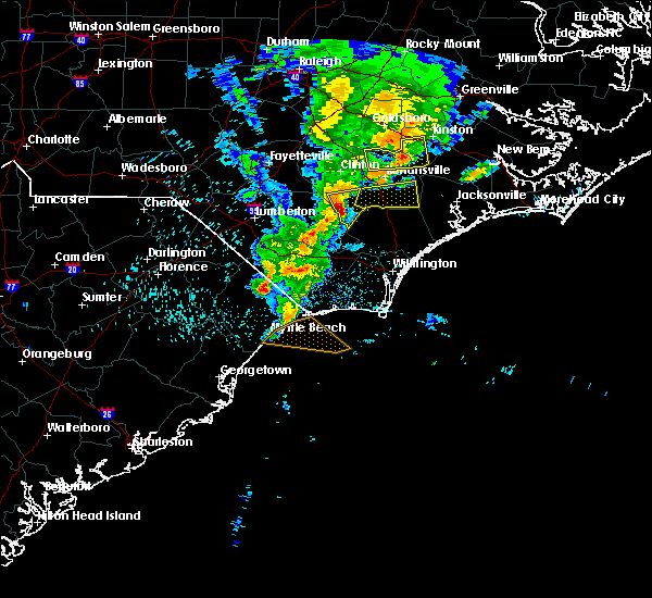 Radar Image for Severe Thunderstorms near Teachey, NC at 5/29/2017 11:56 PM EDT