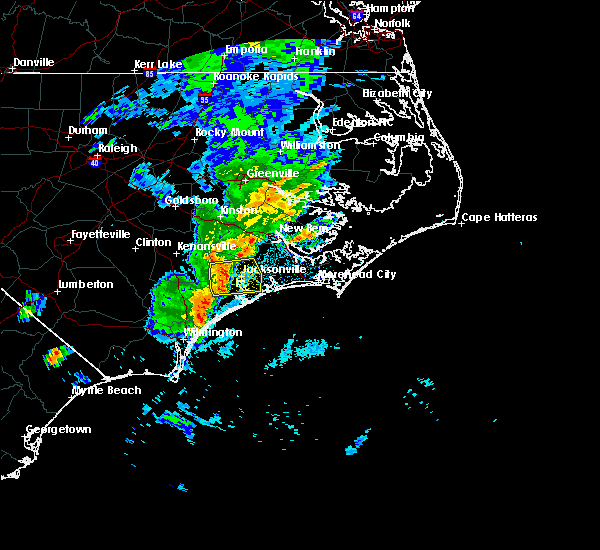 Radar Image for Severe Thunderstorms near Jacksonville, NC at 5/30/2017 1:05 AM EDT
