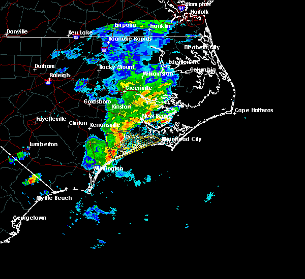 Radar Image for Severe Thunderstorms near Jacksonville, NC at 5/30/2017 1:17 AM EDT