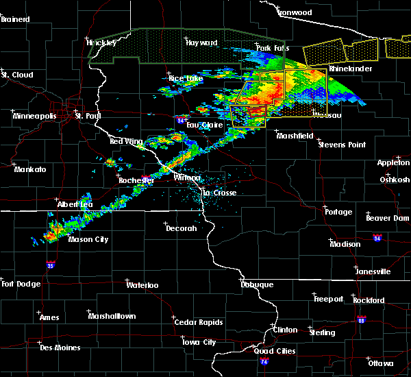 Radar Image for Severe Thunderstorms near Ogema, WI at 6/11/2017 8:34 PM CDT