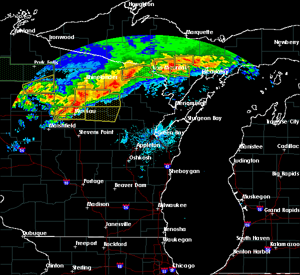 Radar Image for Severe Thunderstorms near Aniwa, WI at 6/11/2017 9:14 PM CDT