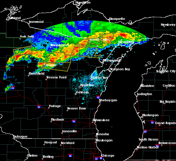 Radar Image for Severe Thunderstorms near Aniwa, WI at 6/11/2017 9:30 PM CDT